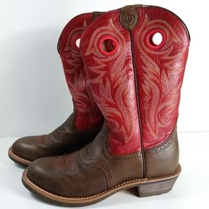 Ariat Brown & Red Flame Stitching Boot 9 B